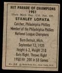 1951 Berk Ross #9 B Stan Lopata  Back Thumbnail