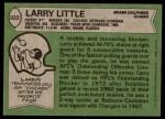 1978 Topps #322  Larry Little  Back Thumbnail