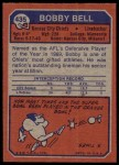 1973 Topps #435  Bobby Bell  Back Thumbnail
