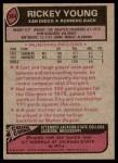 1977 Topps #384  Rickey Young  Back Thumbnail