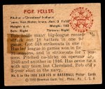 1950 Bowman #6  Bob Feller  Back Thumbnail