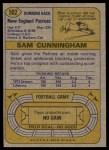 1974 Topps #502  Sam Cunningham  Back Thumbnail