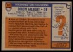 1976 Topps #272  Diron Talbert  Back Thumbnail