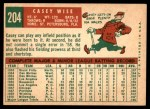 1959 Topps #204  Casey Wise  Back Thumbnail