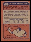 1973 Topps #484  Jerry Simmons  Back Thumbnail