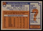1976 Topps #170  Ken Houston  Back Thumbnail