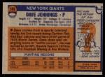 1976 Topps #183  Dave Jennings   Back Thumbnail