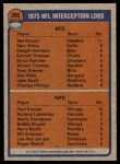 1976 Topps #205   -  Mel Blount / Paul Krause  Interception Leaders Back Thumbnail