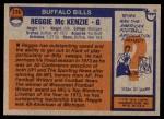 1976 Topps #174  Reggie McKenzie  Back Thumbnail