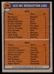 1976 Topps #205   -  Mel Blount / Paul Krause  Interception Leaders Back Thumbnail