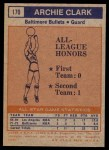 1972 Topps #170   -  Archie Clark  NBA All-Star - 2nd Team Back Thumbnail
