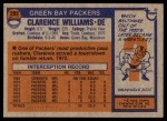 1976 Topps #282  Clarence Williams  Back Thumbnail