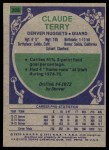 1975 Topps #288  Claude Terry  Back Thumbnail