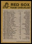 1974 Topps Red Team Checklist   Red Sox Team Checklist Back Thumbnail