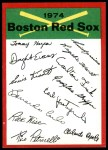 1974 Topps Red Team Checklist   Red Sox Team Checklist Front Thumbnail