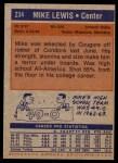 1972 Topps #234  Mike Lewis   Back Thumbnail
