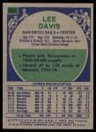 1975 Topps #234  Lee Davis  Back Thumbnail