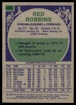 1975 Topps #295  Red Robbins  Back Thumbnail