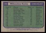 1975 Topps #213   Milwaukee Bucks Back Thumbnail