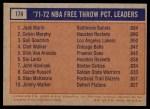 1972 Topps #174   -  Gail Goodrich / Jack Marin / Calvin Murphy  NBA Free Throw Pct Leaders Back Thumbnail