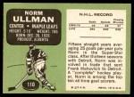 1970 Topps #110  Norm Ullman  Back Thumbnail