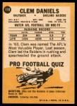 1967 Topps #110  Clem Daniels  Back Thumbnail