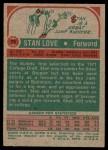 1973 Topps #76  Stan Love  Back Thumbnail