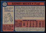 1974 Topps #175  Sidney Wicks  Back Thumbnail