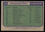 1975 Topps #216   Philadelphia 76ers Back Thumbnail