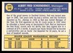 1970 Topps #346  Red Schoendienst  Back Thumbnail