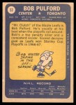 1969 Topps #53  Bob Pulford  Back Thumbnail