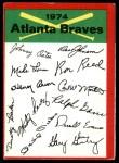 1974 Topps Red Team Checklist   -       Braves Team Checklist Front Thumbnail