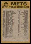 1974 Topps Red Team Checklist   Mets Team Checklist Back Thumbnail
