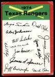 1974 Topps Red Team Checklist   Rangers Team Checklist Front Thumbnail