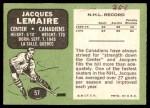 1970 Topps #57  Jacques Lemaire  Back Thumbnail