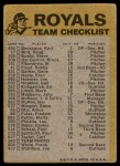 1974 Topps Red Team Checklist   Royals Team Checklist Back Thumbnail