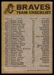 1974 Topps Red Team Checklist   -       Braves Team Checklist Back Thumbnail