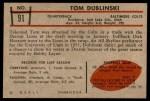 1953 Bowman #91  Tom Dublinski  Back Thumbnail