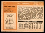 1972 O-Pee-Chee #10  Lou Nanne  Back Thumbnail