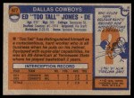 1976 Topps #427  Ed Too Tall Jones   Back Thumbnail