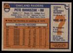 1976 Topps #323  Pete Banaszak  Back Thumbnail