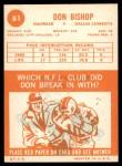 1963 Topps #81  Don Bishop  Back Thumbnail