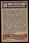 1956 Topps U.S. Presidents #6  James Madison  Back Thumbnail