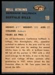 1962 Fleer #18  Bill Atkins  Back Thumbnail