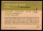 1961 Fleer #23  John David Crow  Back Thumbnail