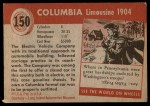 1954 Topps World on Wheels #150   Columbia Limousine 1904 Back Thumbnail