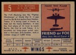 1952 Topps Wings #5   F-51 Mustang Back Thumbnail