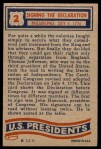 1956 Topps U.S. Presidents #2   Declaration of Independence Back Thumbnail