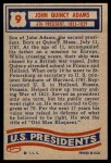 1956 Topps U.S. Presidents #9  John Quincy Adams  Back Thumbnail