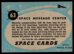 1957 Topps Space Cards #63   Space Message Center  Back Thumbnail